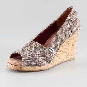 Toms Brown Metallic Herringbone Cork Wedges